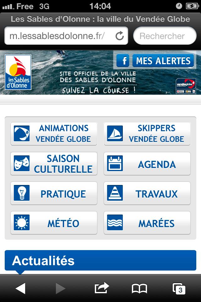 Le site Mobile de la Mairie des Sables d'Olonne